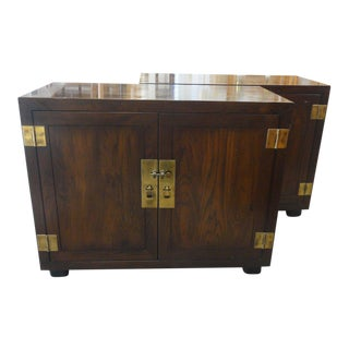Henredon Oversized Wood & Brass Chests - a Pair