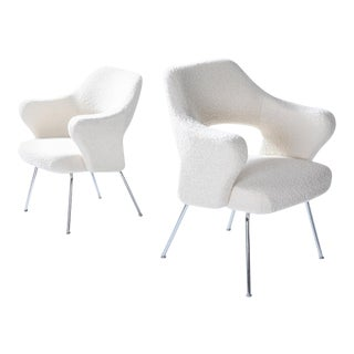 Bouclé Wool Gastone Rinaldi P16 Pair of Armchairs For Sale