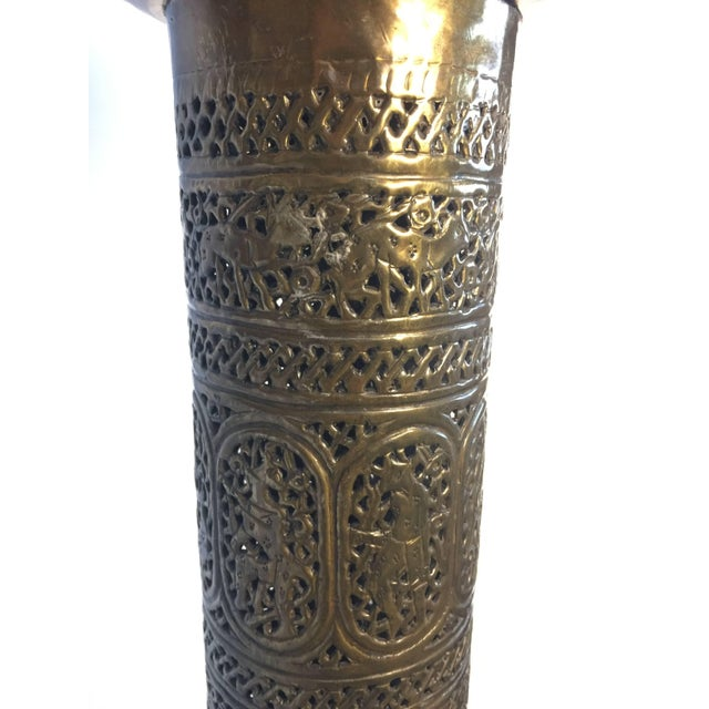 Metal Antique 19th Century Brass Islamic Middle Eastern Persian Floor Lamp For Sale - Image 7 of 9