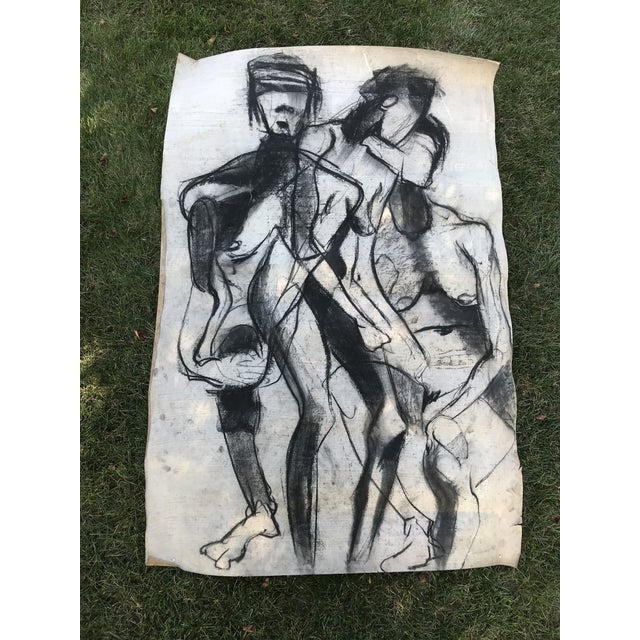 Black 1950s Vintage Chalk Man & Woman Nudes Large Abstract Drawing For Sale - Image 8 of 9