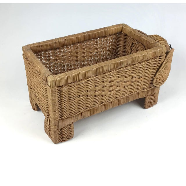 Brown 1970s Vintage Wicker Elephant Planter For Sale - Image 8 of 12