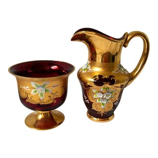 Vintage Venetian Gold and Ruby Glass Pitcher Footed Compote Bowl - a Pair For Sale