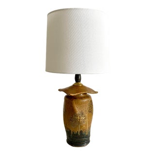 Mid-Century Studio Pottery Table Lamp Signed For Sale