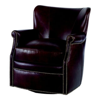 Century Furniture Prairie Swivel Chair, Umber Leather For Sale