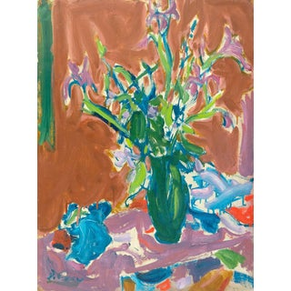 'Still Life of Irises' by Victor DI Gesu; California Post-Impressionist, Louvre Museum, Exposition Des Artistes Etrangeres, Paris For Sale