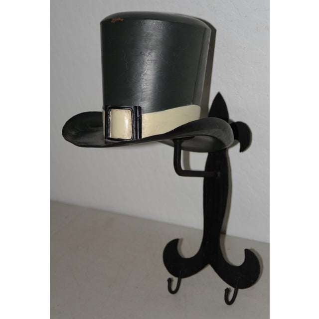 Vintage American Folk Art Coat Rack c.1950 This fabulous old school coat rack has a hat that sits on top. Remove the hat...