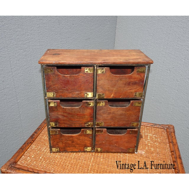 Vintage French Country Table Top Storage Bin Drawers (6) W Decorative Brass For Sale - Image 12 of 12