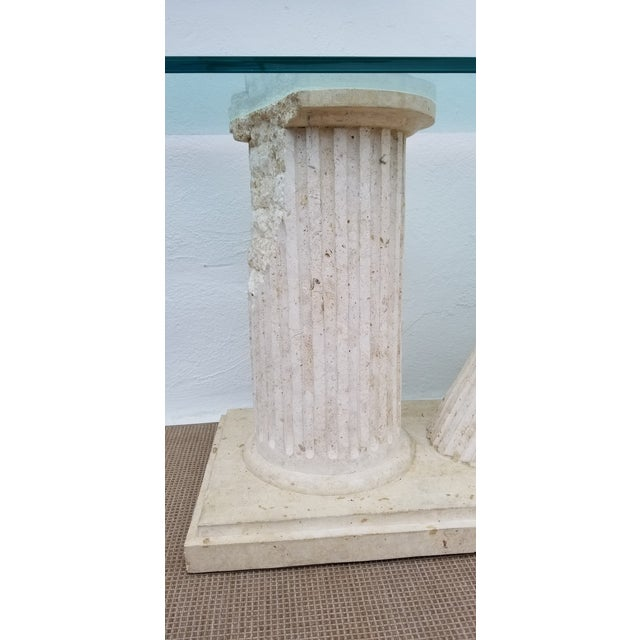 Glass 1970s Hollywood Regency Column Broken Console Table For Sale - Image 7 of 11