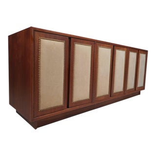 Vintage Modern Walnut Credenza With an Upholstered Front