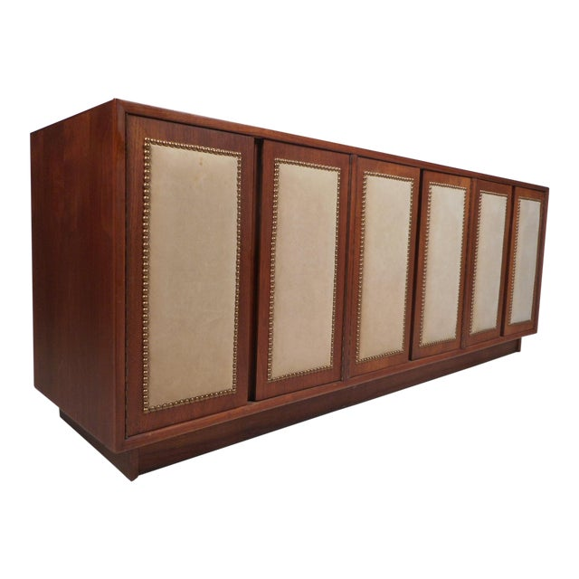 Vintage Modern Walnut Credenza With an Upholstered Front For Sale