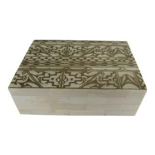 White & Gold Bone Box For Sale