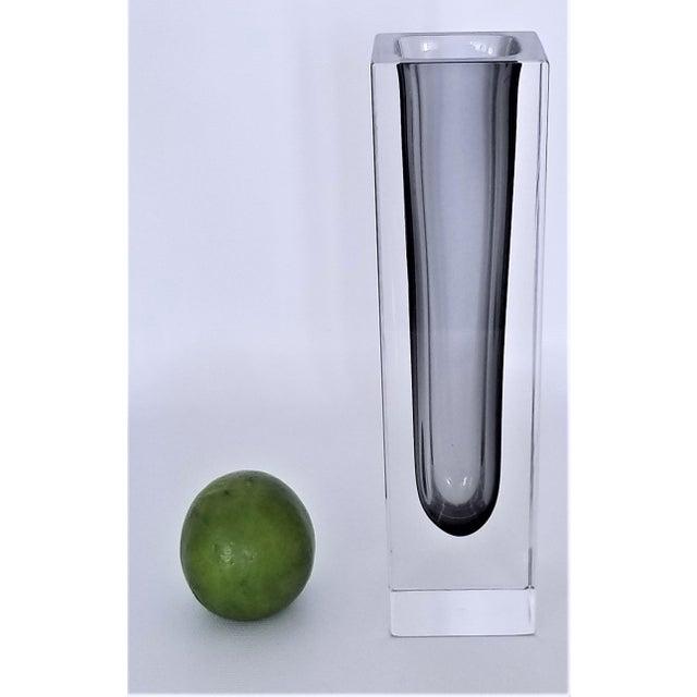 Alessandro Mandruzzato 1970s Murano Glass Gray Sommerso Vase by Mandruzzato For Sale - Image 4 of 12