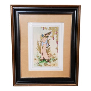 Mid 20th Century Persian Woman Painting on Ox Bone by Kazem Shahbazi For Sale
