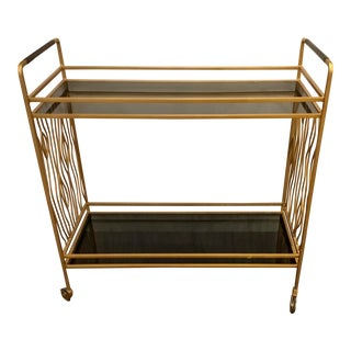Currey & Co. Modern Black and Gold Bar Cart Prototype For Sale