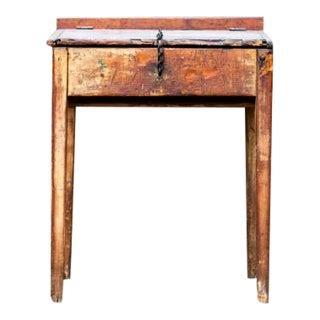 Antique Primitive Rustic Desk W/ Built-In Lock Chain For Sale