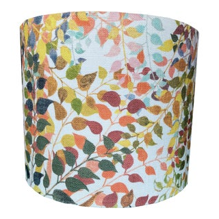 Confetti Leaves Drum Lamp Shade in Natural, 18 inch Diameter For Sale