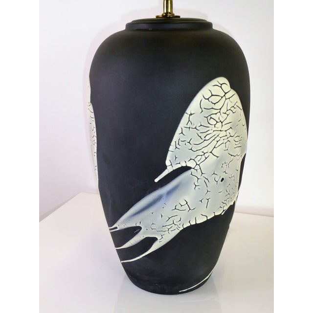1960s Black N White Lava Glaze Pottery Table Lamp For Sale In Miami - Image 6 of 12