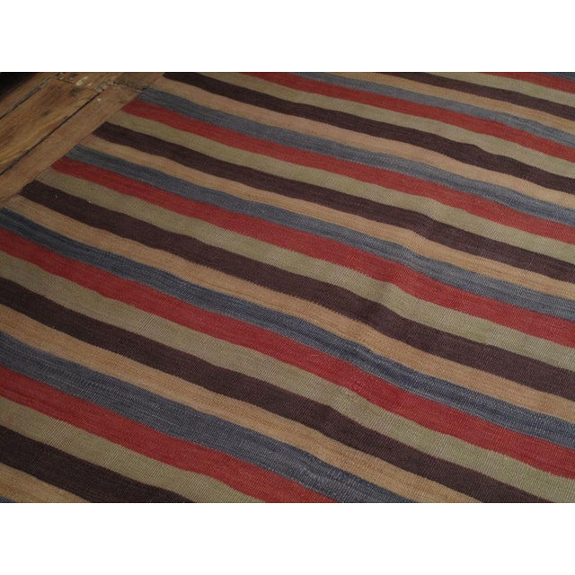 Primitive Banded Kilim Wide Runner For Sale - Image 3 of 6
