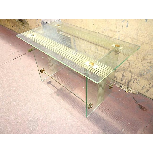 Fontana Arte Vintage Coffee Table in Engraved Glass and Bronze For Sale - Image 6 of 6