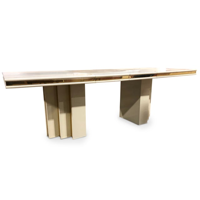 Contemporary 1970s Contemporary Roger Rougier Brass and Lacquered Dining Table For Sale - Image 3 of 8
