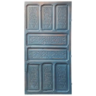 1970s Vintage Old Blue Moroccan Wooden Door For Sale