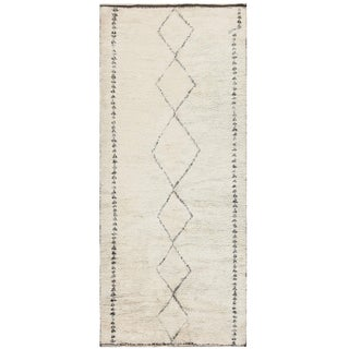 Vintage Moroccan Beni Ourain Rug - 6′4″ × 13′7″ For Sale
