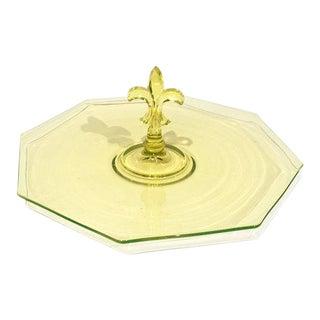 Canary Yellow Glass Fleur De Lis Center Handle Tray