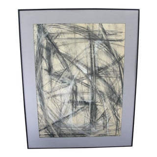 Late 20th Century Vintage Black and White Abstract Chalk Drawing For Sale