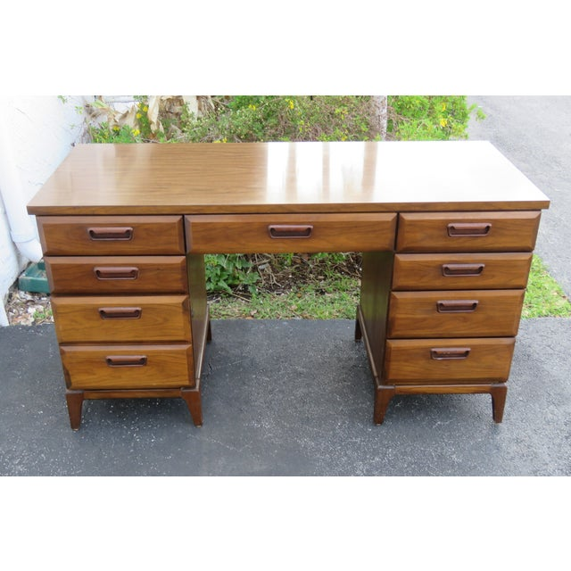 Mid Century Modern Large Writing Office Desk For Sale - Image 12 of 13