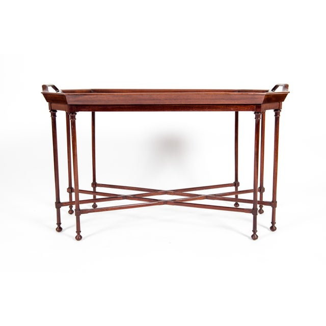 Very fine mahogany wood tray top table with side handles with inlaid design details top . The table is in excellent...