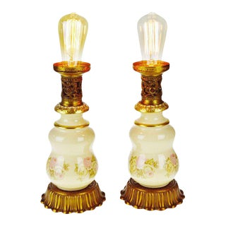 Vintage Porcelain Accent Lamps - a Pair For Sale