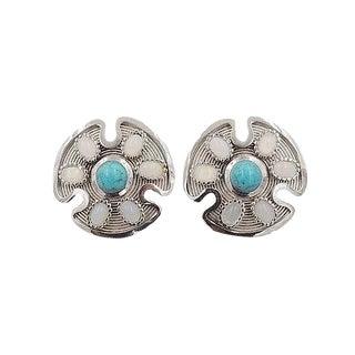 1970s Trifari Silvertone Cabochon Rhinestone Earrings For Sale