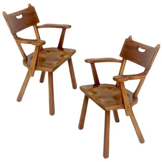 Pair of Cushman Vermont Hard Rock Maple Americana Armchairs by Herman DeVries For Sale