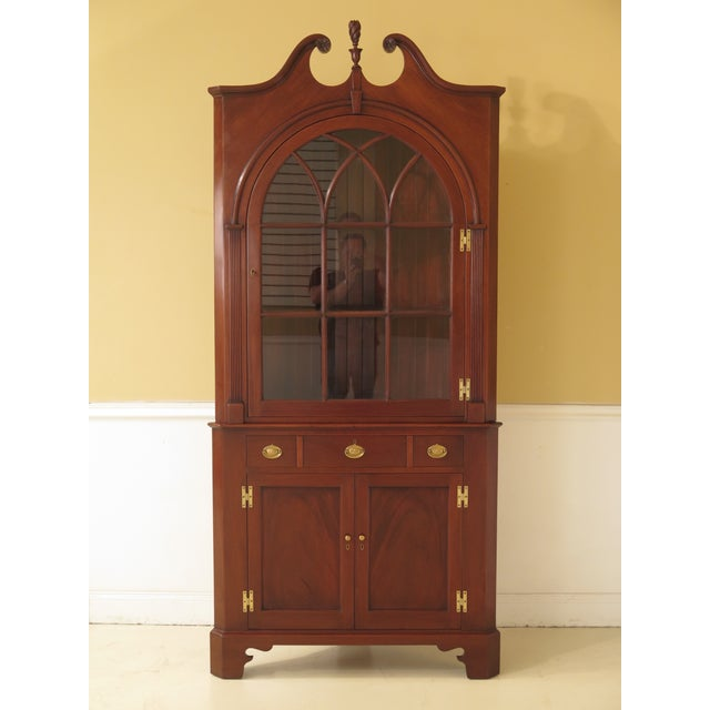 1950s Chippendale John Bair Mahogany Corner China Cabinet For Sale - Image 13 of 13