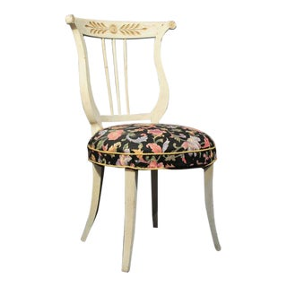 Vintage White French Style Saber Leg Vanity Side Chair Distress Painted Lyre Back