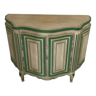 Painted French Demilune Cabinet Table For Sale