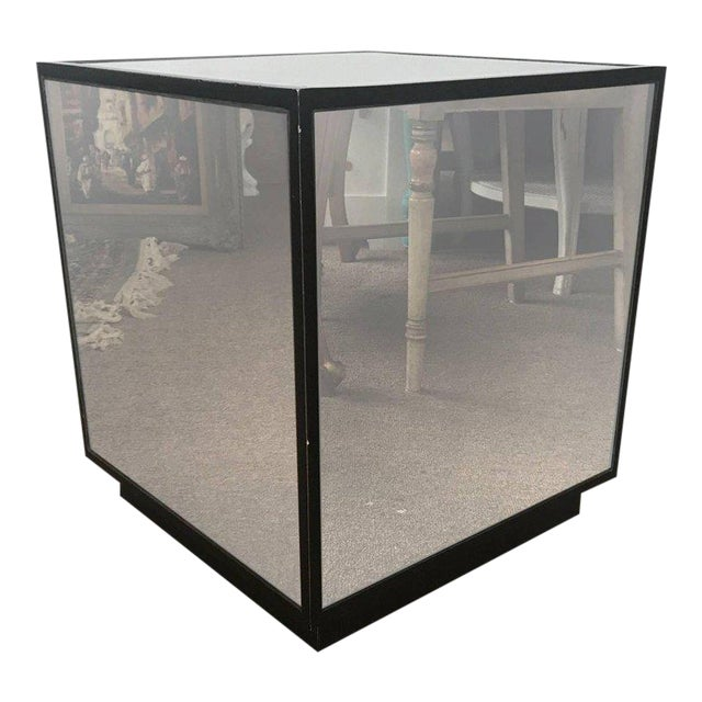 Ralph Lauren Style Antiqued Glass Cube Side Table - Image 1 of 7