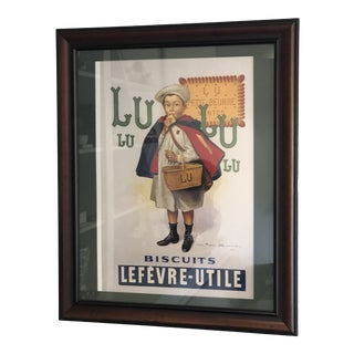 Vintage French Cookie Advertisement Custom Framed and Matted Print With Sturdy Hanging Wire For Sale