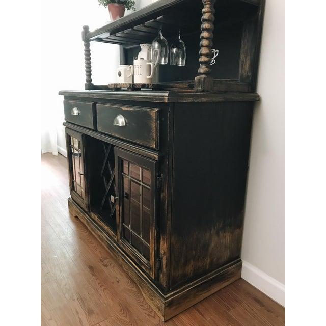 Black Black Distressed Bistro Coffee Bar Hutch Cabinet For Sale - Image 8 of 11