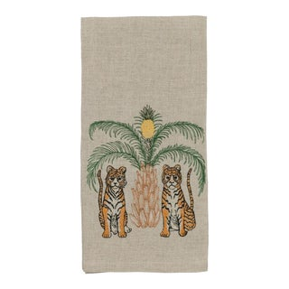 2010s French Ecru Linen Tigers With Pineapple Palm Tree Tea Towel