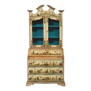 Vintage Italian Baroque Style Lacca Povera Secretary Desk For Sale