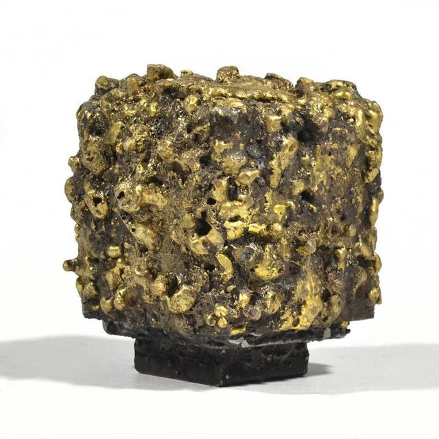 "Brutalist James Bearden Steel and Bronze ""Barnacle Box"" Sculpture/Trinket Box For Sale - Image 3 of 10"