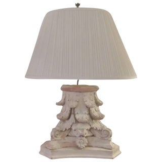 19th Century Neoclassical Off-White Wooden Table Lamp For Sale