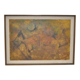Mid-Century Modern Cubist Reclining Figure Painting C.1950s For Sale
