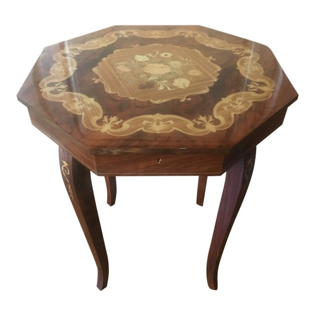 1980s Vintage Italian Inlaid Wood Box Table
