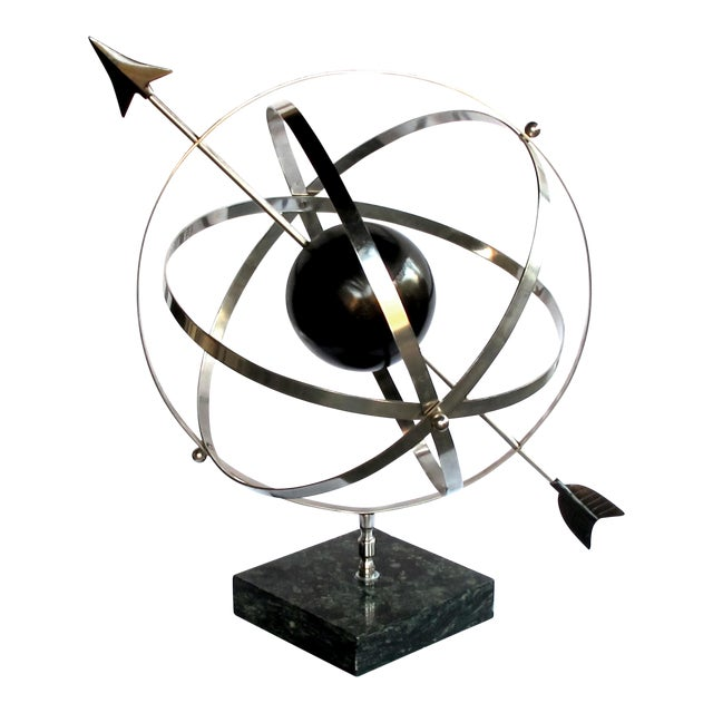 A Large-Scaled and Well-Rendered American 1980's Steel Astrological Zodiac Armillary For Sale