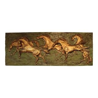 "1962 Vintage ""Gallop"" Horses Fiberglass Sculpture Mural For Sale"