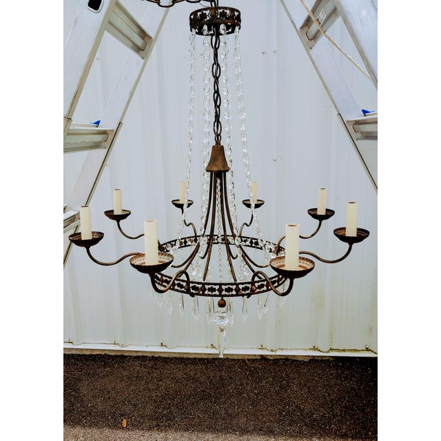 Traditional Mid-Century Vintage Glass and Metal Chandelier For Sale - Image 3 of 3