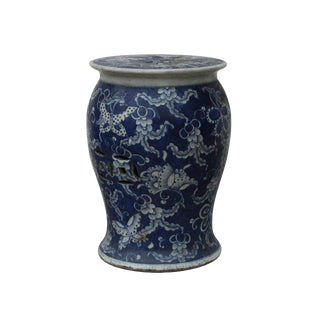 Chinese Distressed Blue & White Porcelain Round Butterflies Stool For Sale