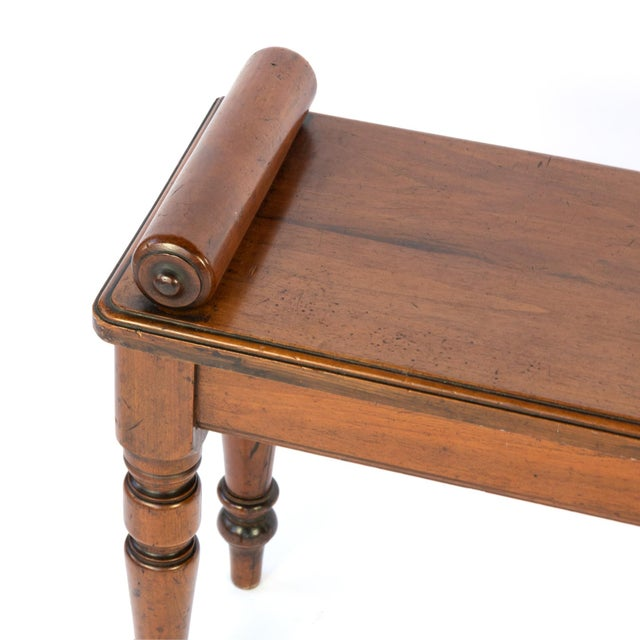 Wood Victorian Mahogany Hall Bench With Carved Bolster Arm-Rests; English, Circa 1870 For Sale - Image 7 of 10
